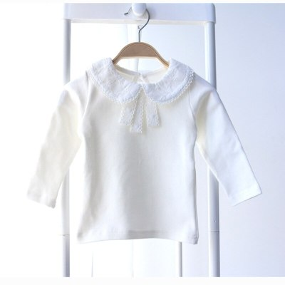 Children T Shirt Fashion Baby Girls Tops Peter Pan Collar Cotton T Shirts Long Sleeve Kids Clothing