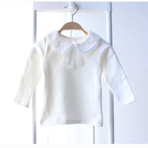 Children T Shirt Fashion Baby Girls Tops Peter Pan Collar Cotton T Shirts Long Sleeve Kids Clothing