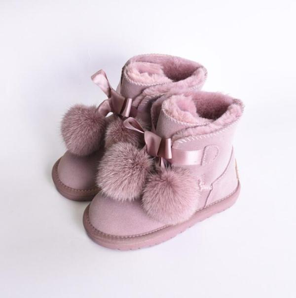 Winter Kids Fashion snow boots thick Genuine Leather warm baby girls boots winter boot for baby