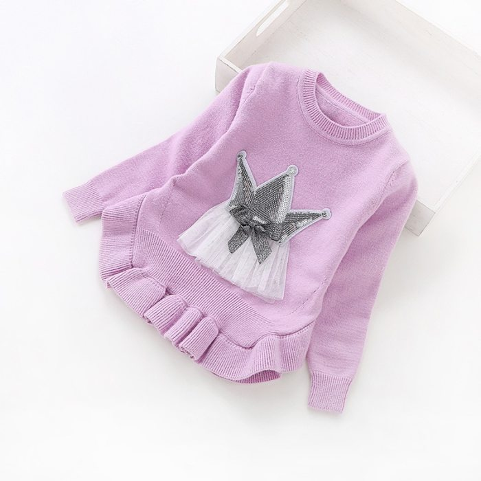 Children's clothing 2-6 years girls sweater round neck pullover sweaters