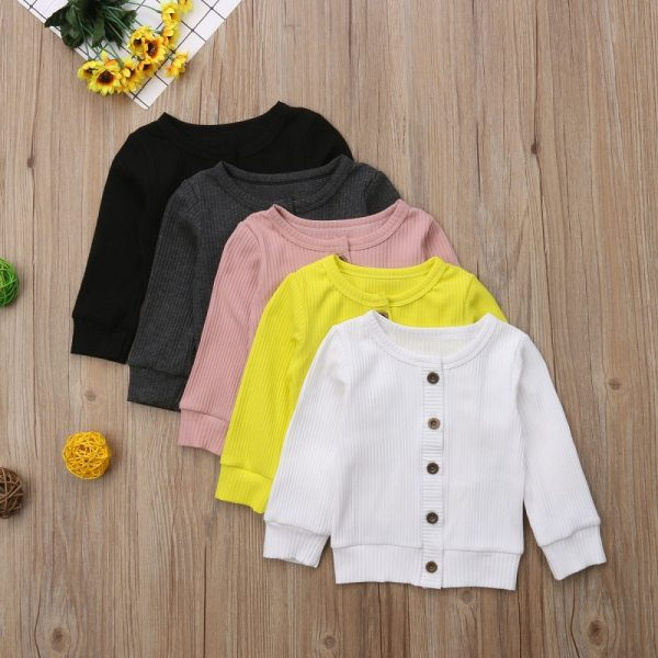 Children Baby Kids Girl Boy Knitted Sweater Cardigan Tops Outfit Colorful Tees