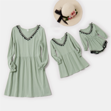 Mom and daughter dress Green V-neck Tassels Decor Dress Baby Romper Mommy and me clothes Family Look