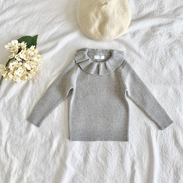Fashion Baby Girls Sweater Ruffle Collar Princess Girls Knitted Pullover Kids Basic Sweater
