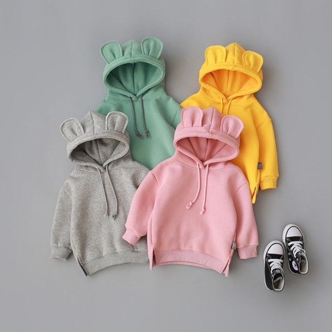 New Fashion Baby  Clothes Solid Color Pullover Hooded Long Sleeve Outwear Coat