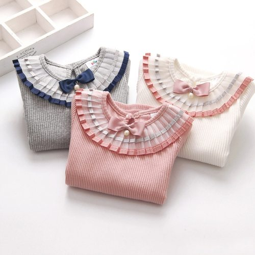 100% Cotton Solid Color Long Sleeve Pleated Turn-Down Collar Neck T Shirt For Girls 2-12T