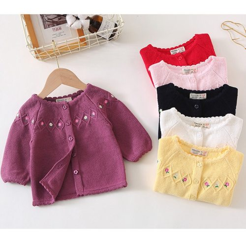 Baby Girls Sweater Cardigan Embroidery Floral Full Sleeve Baby Girl Clothes Infant Knitted Cardigan Jacket