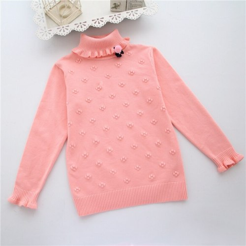 Fashion Kids Clothes Girls Flower Pullovers Girl Child Basic Turtleneck Sweaters