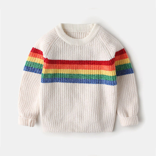 Children's sweater boy's thick knit sweater baby rainbow trend pullover sweater