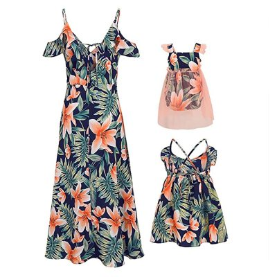 Mommy and Me Family Matching Sleeveless Flower Print Dress Mother Daughter Loose Boho Beach Dresses