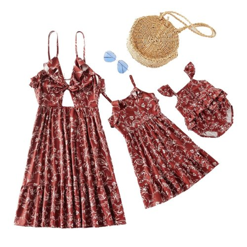 Mother Daughter Dress Baby Bodysuit Flower Dress Family Look Mommy and Me Matching Clothes Outfits