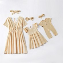 Family Matching Clothes Short Sleeve Mother Daughter Dresses Mommy and Me Clothes Family Look