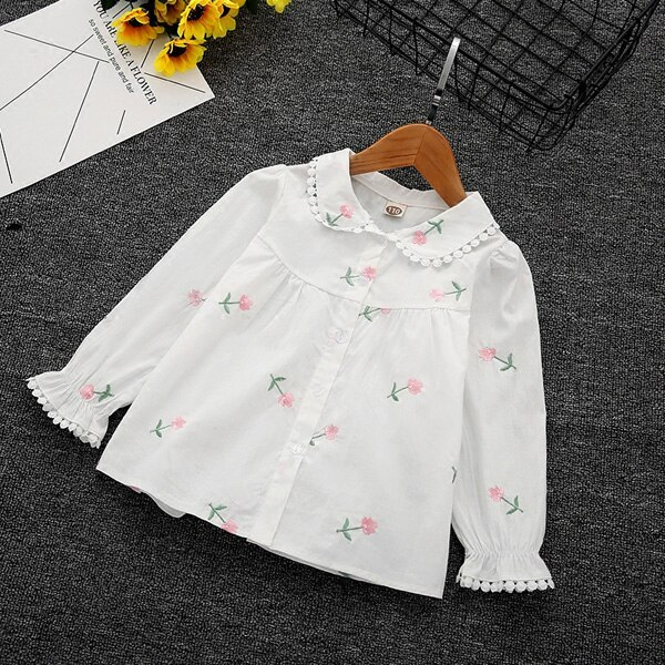 Girls' long-sleeved shirts embroidered children's cotton shirts blouse