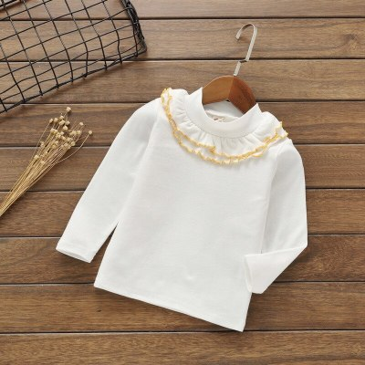 Bbay girl solid color Tees cotton casual Floral bottoming tops