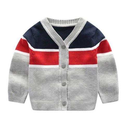 Children kids sweater baby boys v-neck striped sweater 100% cotton