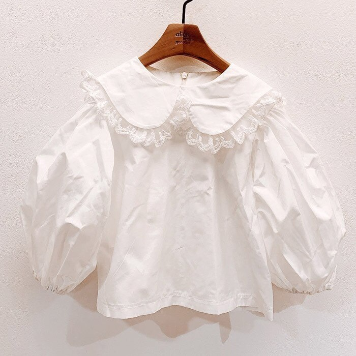 2020 Autumn Girl's Lace Lapel White Shirt Girl's Shirt Baby Puff Sleeve Top girl blouse