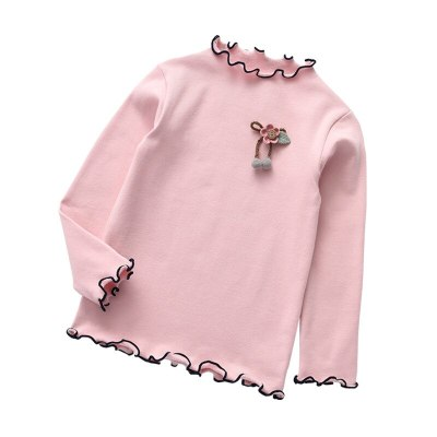 Baby girls bottoming wooden ear edge shirts long sleeve t-shirts tops