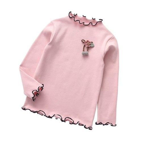 Baby girls bottoming wooden ear edge shirts long sleeve t-shirts tops