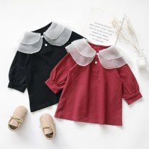 Girls Dress Autumn Big Mesh Lapel Sweet Lantern Sleeve Dress