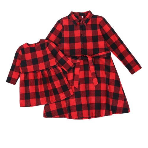 Long Sleeve Christmas Plaid Family Matching Dress Outfits Mommy And Me Winter Dresses