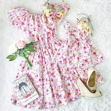 Mother Daughter Dresses Family Matching Clothes Floral Print Dress Family Look
