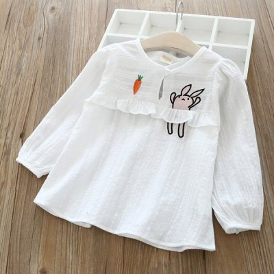 Korean version of spring and autumn girl embroidery sleeve pullover shirt