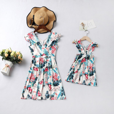 Mommy and Me Clothes Sleeveless Floral Dress Mother And Daughter Clothes Dresses