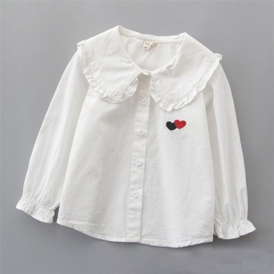 Girls' Long Cotton Lined shirt children's cardigan bottoming coat