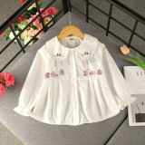 Children's clothing girl stripe shirt cartoon cute doll collar cotton tops