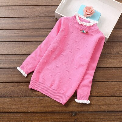 New fashion girls long sleeve sweaters child floral O-Neck sweater children clothing