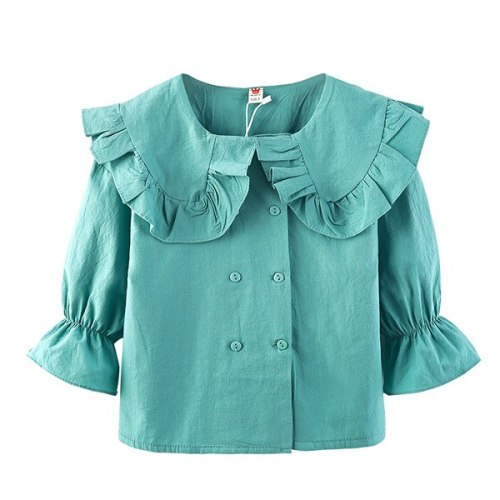 Girls' double breasted shirt children's Spring Long Sleeve Shirt