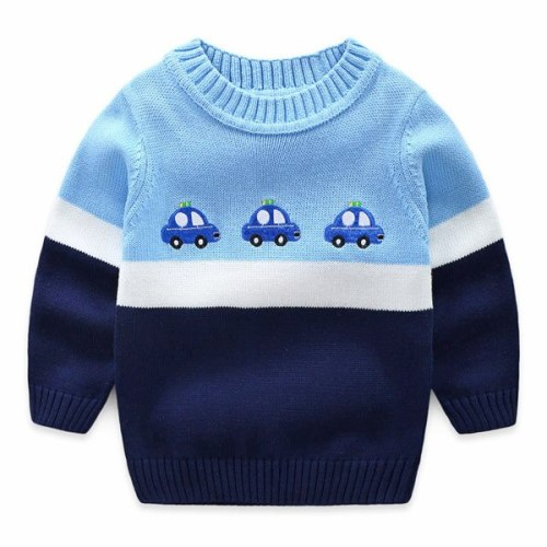 Boys' crew neck Cartoon sweaters children's Embroidery cotton sweater