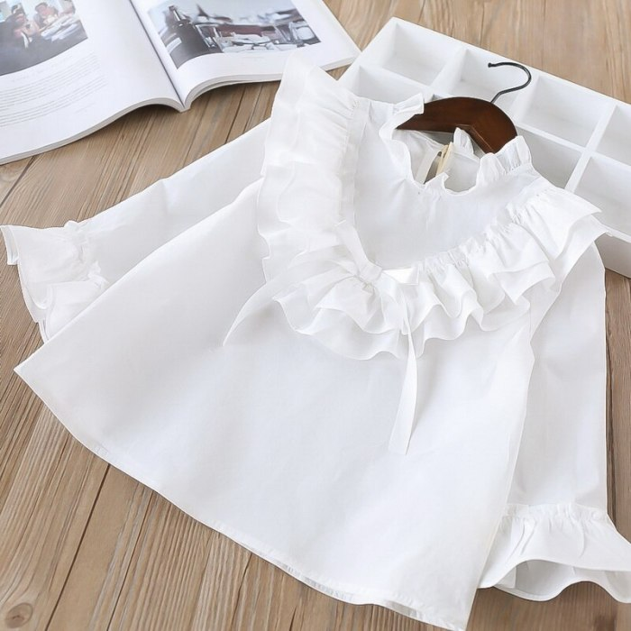 New Girls Shirt Baby Ruffles Solid Blouses Baby Girl Clothes Children full Sleeve Tops