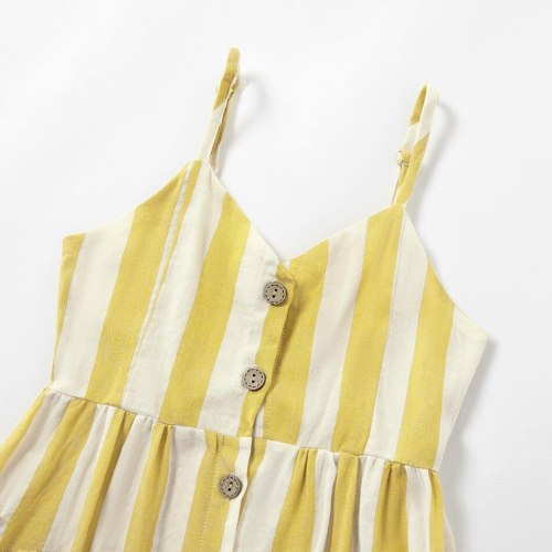 Mother daughter dresses Striped Pocket Sling Dress Baby Romper Dress Mommy and me clothes