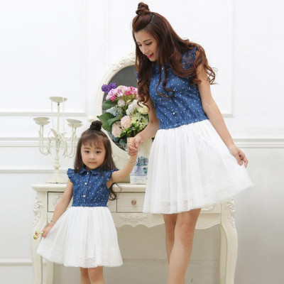 Mother Daughter Dresses Family Clothing Dress Family Matching Outfits Dress for Kids and Women