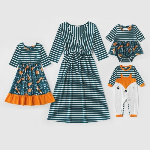 Fox Printed Stripe V-neck Midi-sleeve Matching Dresses Mommy and Me Animal Clothes