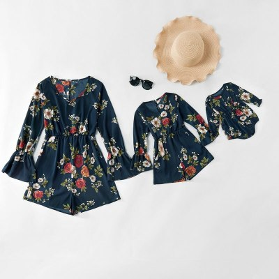 Mother And Kids Clothes Family Clothes Outfits Long Sleeve Floral Overalls For Mommy And Me Matching Dress