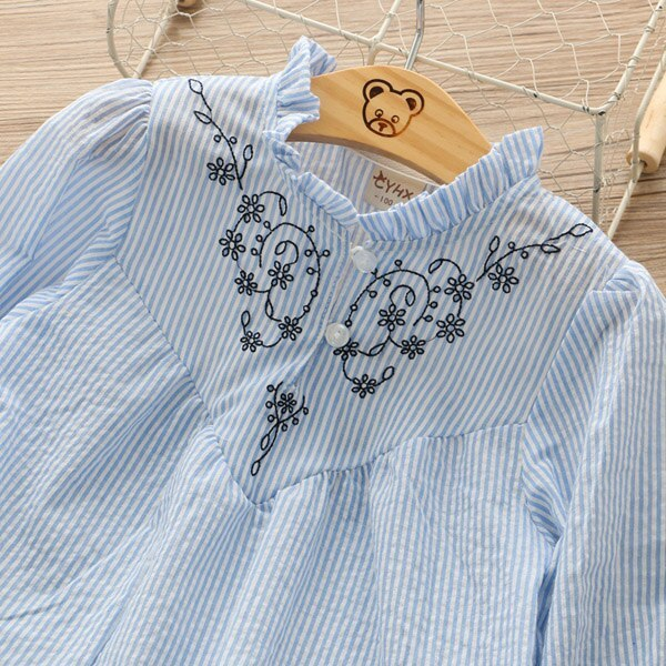 Girls long sleeve shirt cotton baby pullover embroidered flower blouse