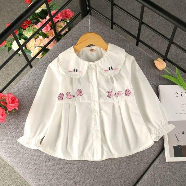 Children's clothing girl stripe shirt cartoon cute doll collar cotton tops