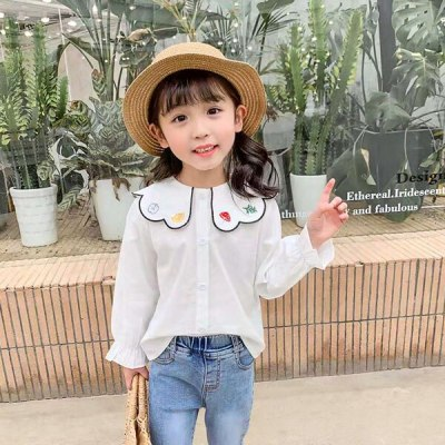 Girl baby petal-collar embroidered shirt girl long-sleeve shirts