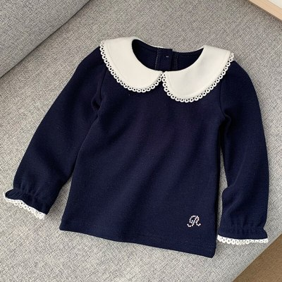 Children'S Long-Sleeved Toddler Bottoming Shirt  Lace Trim Doll Collar Baby Kids Clothes