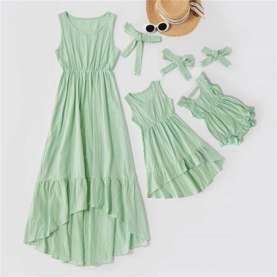Family Matching Clothes Solid Linen Cotton Mother Daughter Dress Mommy and me Clothes