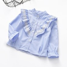 Girl's striped long-sleeved shirt with flared sleeves and spring blouse