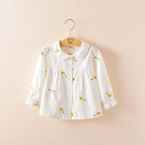 Baby long sleeve shirt fashion Girl's cotton Turn-down Collar blouse