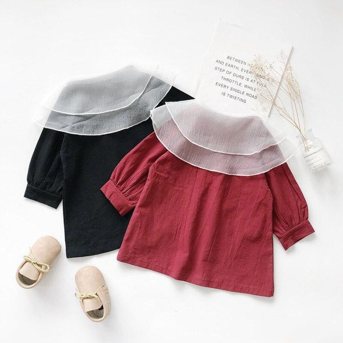 Girls Dress Autumn Big Mesh Lapel Sweet Lantern Sleeve Dress