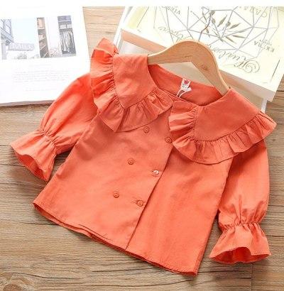 Girls' double breasted shirt children's Spring Long Sleeve Shirt