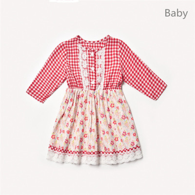 Mommy and me clothes Plaid Lace Print Long Sleeve Party Dress Mother daughter dresses Family Look
