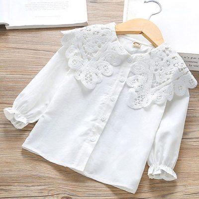 Girls' Turn-down Collar shirt children's cotton long sleeve white shirt