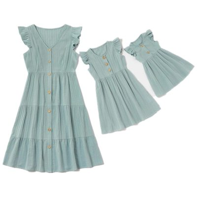 Mother Daughter Dress Family Look Cotton Linen Dress Family Matching Outfits Mommy and me Clothes