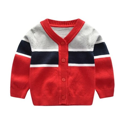 Children kids sweater baby boys v-neck striped sweater 100% cotton