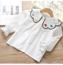 Girl baby petal-collar embroidered shirt girl long-sleeve shirts
